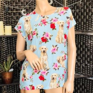 DOLCE & GABBANA Golden Retriever Floral Silk Tee